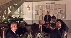All smiles: Nigel Farage dines with US president Donald Trump in an image posted on Twitter by the former Ukip leader.