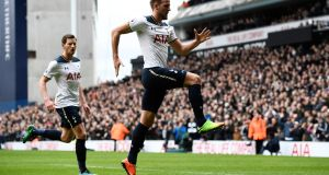 Tottenham's Harry Kane celebrates scoring their second goal in a 4-0 win over Stoke. Photo: Dylan Martinez/Reuters