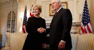 Australia's foreign minister Julie Bishop with US secretary of state Rex Tillerson in Washington last week. Photograph: Joshua Roberts/Reuters
