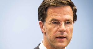 Dutch prime minister Mark Rutte: party wants to make it harder for migrants to get visas and passports. Photograph: Valerie Kuypers/EPA