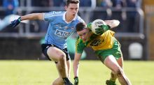 Donegal's Ciaran Thompson gets away from  Dublin's Brian Fenton during  the Allianz Football League Division One game  in Ballybofey. Photograph: Lorcan Doherty/Inpho/Presseye