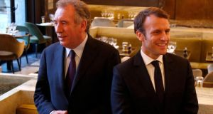 François Bayrou and Emmanuel Macron: The candidates for the French presidency have created an alliance, boosting Macron's chances of beating  Marine Le Pen in a run-off. Photograph: Reuters/Charles Platiau
