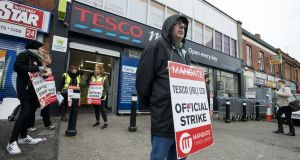 Tesco workers picket the store in Drumcondra, where sales dropped from €31,000 on the Monday prior to the strike to €9,000 on the following Monday. Photograph: Dave Meehan