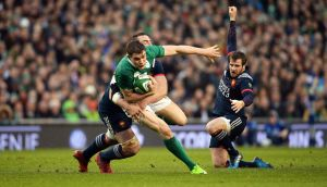 Garry Ringrose looks for a gap in the Ireland v France Six Nations match at the Aviva Stadium on Saturday. Photograph: Eric Luke
