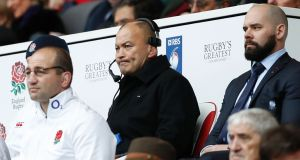 England coach Eddie Jones during the Six Nations game against Italy at Twickenham. Photograph: Adrian Dennis/AFP/Getty Images