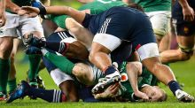 Ireland's  Keith Earls  is tackled by France's Uini Atonio during the sides' Six Nations  rugby match on Saturday. Photograph: Franck Fife/AFP/Getty Images