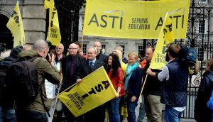 ASTI members protesting outside the Dáil last summer. The union has pledged to immediately ballot its membership on industrial action if any of its members are made redundant. File photograph: Cyril Byrne/The Irish Times