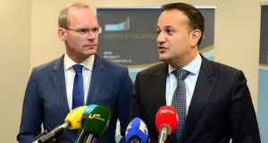 "Minister for Housing Simon Coveney and Minister for Social Protection Leo Varadkar. Mr Coveney said the contest for leadership of Fine Gael should be about ""vision and ambition for the country"". File photograph: Dara Mac Donaill/The Irish Times"