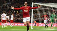 Manchester United's Zlatan Ibrahimovic celebrates after scoring the winning goal goal against Southampton in the Football League cup final at Wembley. Photograph: Andy Rain/EPA