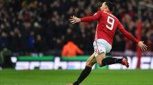Manchester United's Zlatan Ibrahimovic celebrates opening the scoring yesterday: Few players in English football can match his presence and his competitive temperament. Photograph: Glyn Kirk/AFP/Getty Images
