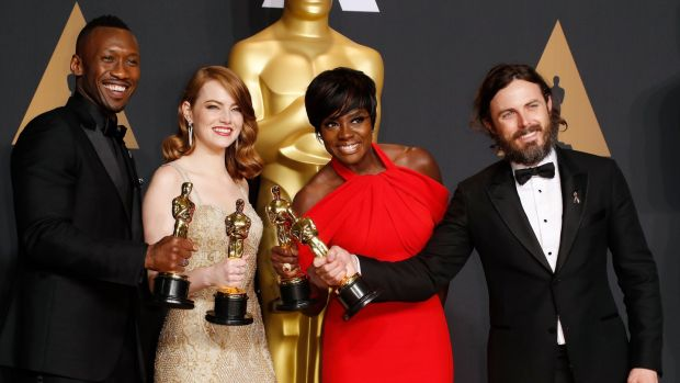 Winners L-R: Mahershala Ali (supporting actor-Moonlight), Emma Stone (best actress-La La Land), Viola Davis (supporting actress-Fences) and Casey Affleck (best actor-Manchester by the Sea). Photograph: Paul Buck/EPA