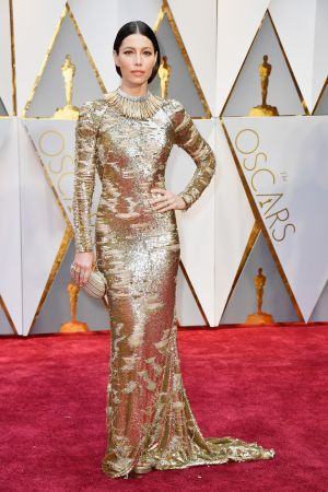 Jessica Biel in KaufmanFranco. Photograph: Frazer Harrison/Getty Images