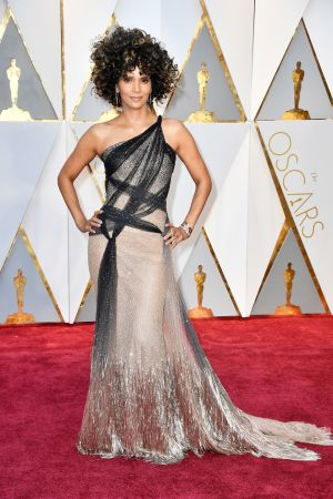 Halle Berry in Atelier Versace. Photograph: Frazer Harrison/Getty Images