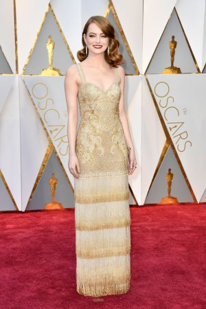 Emma Stone in Givenchy. Photograph: Frazer Harrison/Getty Images