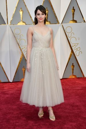 Felicity Jones in Dior. Photograph: Frazer Harrison/Getty Images
