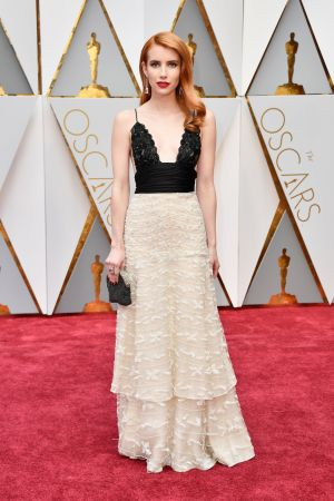 Emma Roberts in vintage Armani Prive. Photograph: Frazer Harrison/Getty Images