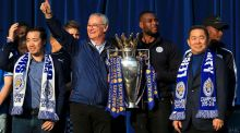 Leicester City vice-chairman Aiyawatt Srivaddhanaprabha, manager Claudio Ranieri, captain Wes Morgan and chairman Vichai Srivaddhanaprabha with the Premier League trophy. Photo: Nick Potts/PA Wire