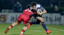 Leinster's Joey Carbery with Damien Hoyland of Edinburgh during their Pro12 clash. Photo: Morgan Treacy/Inpho