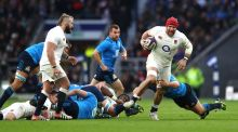 James Haskell of England breaks away from the Italian defence during the Six Nations match between England and Italy at Twickenham. Photo: Clive Mason/Getty Images