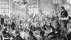 A coroner, left, police and legal staff at a murder inquest in  Staffordshire in 1856. Photograph: by Hulton Archive/Getty Images
