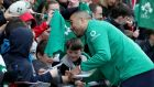 Simon Zebo signs autographs for young fans during Monday's open training session at the Aviva Stadium. Photograph: Dan Sheridan/Inpho