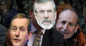 Same faces, new dispensation: masks of  party leaders at a protest outside the Dáil. Photograph:  Nick Bradshaw