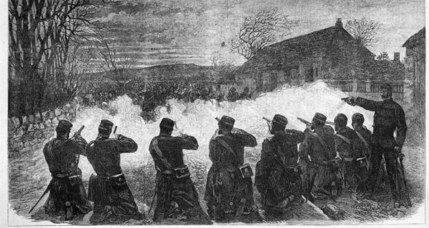 A contemporary illustration of the Battle of Tallaght from the London Illustrated News