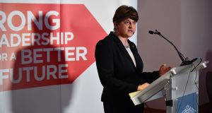 DUP leader and former first minister Arlene Foster faced scrutiny last week after claiming she did not know how much the party had been given by a then-unnamed mystery donor. File photograph: Charles McQuillan/Getty Images