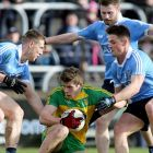 Donegal's Eoghan Ban Gallagher with Dublin's John Small, Jack McCaffrey and Eric Lowndes at Ballybofey on Sunday. Photograph: INPHO