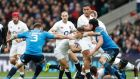 England's scrumhalf Danny Care is tackled by Italy's prop Lorenzo Cittadini  at Twickenham stadium on Sunday. Photograph:  Adrian Dennis/AFP/Getty Images