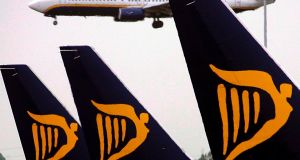 Ryanair shares were  up marginally at €13.97. Photograph: Andy Rain/EPA