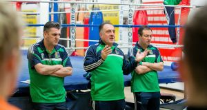 Eddie Bolger (right) pictured with Ireland head coach Zaur Antia (centre) and John Conlan. Photograph: Morgan Treacy/Inpho