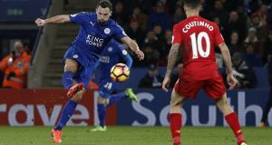 Leicester City midfielder Danny Drinkwater  scores their second goal during the  Premier League  match against  Liverpool at King Power Stadium. Photograph:  Adrian Dennis/AFP/Getty Images