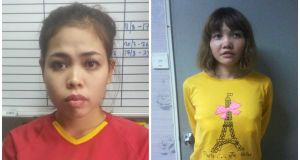 Siti Aisyah (25) and Doan Thi Huong (28) will be charged with murder on Wednesday. Photograph: NYT