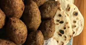 Colm O'Gorman's kibbeh with flatbread and warm yoghurt sauce