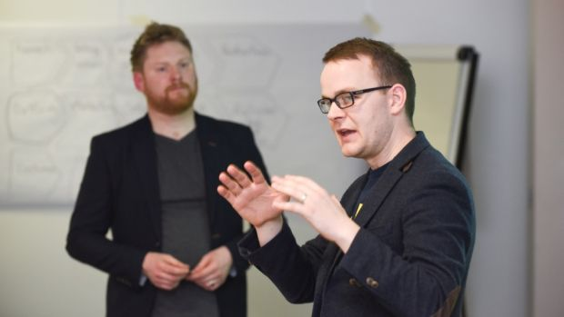 Trevor Vaugh and Martin Ryan of The Irish Times Training, taking the AIB Start-up Academy finalists through their session on design thinking. PHotograph: Conor Mulhern