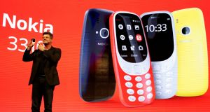 HMD chief executive Arto Nummela introduces the Nokia 3310  at the Mobile World Congress in Barcelona on Sunday. Photograph: Reuters/Paul Hanna