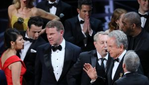 Brian Cullinan (third left) of PricewaterhouseCoopers after the Best Picture Academy Award was mistakenly awarded to 'La La Land'.  REUTERS/Lucy Nicholson