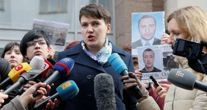 "Nadiya Savchenko: The controversial pilot  has rubbished as ""a complete lie""  a report that she claimed Ukraine would be better under  Vladimir Putin. Photograph: Valentyn Ogirenko/Reuters"