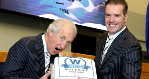 Ian Wilson, managing director of Wilsons Auction Group, and group operations director Peter Johnston celebrating the company's 80th anniversary in November 2016. Photograph: William Cherry/Press Eye