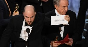 'La La Land' producer Jordan Horowitz and US actor Warren Beatty reveal the best picture mix-up at this year's  Oscars  in Hollywood, the US. Photograph: Mark Ralston/AFP/Getty Images
