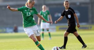 Stephanie Roche opened the scoring in the Republic of Ireland's 2-0 win over the Czech Republic at the Cyprus Cup. Photograph: Tommy Dickson/Inpho