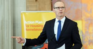 Minister for Housing Simon Coveney at the rollout of the Housing Assistance Payment scheme at City Hall, Dublin. Photograph: Eric Luke