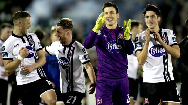 Dundalk's Gabriel Sava and Jamie McGrath celebrate after the game. Photograph: Ryan Byrne/Inpho