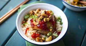 Chilli jam chicken with nam pla veggie fried rice