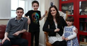 Nuala Ní Chonchúir  with her sons Cuan (left) and Finn and daughter Juno at home in Ballinasloe. Photograph: Joe O'Shaughnessy.