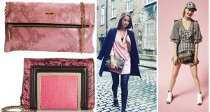 Gionni rose foldover for €30, from Kilkenny, Debenhams, Shaws and Pamela Scott; Ava elaphe and leather shoulder bag, €1,125 from Jimmy Choo; Clementine MacNeice, stylist; River Island's spring summer look