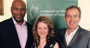Noelette Hanley (pictured with Colin Salmon and Steve Abbott):  'Half of men and a third of women report finding it easier to talk to an Irish worker about finances.'  Photograph: Luton Irish Forum on Facebook