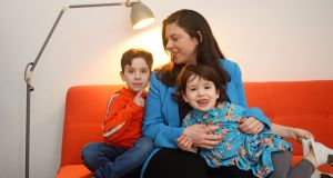 Tanya Ward with her children Morrigan (3) and Durragh (6). Photograph: Eric Luke