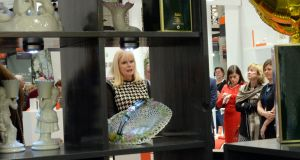 "Mary Mitchell O'Connor, Minister for Jobs, at a trade fair in the RDS: ""We've seen the largest declines to date this year in Border, Midlands and South East counties which is very good news."" Photograph: Cyril Byrne"